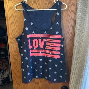 Tops - BOGO FREE - Love red, white and blue tank